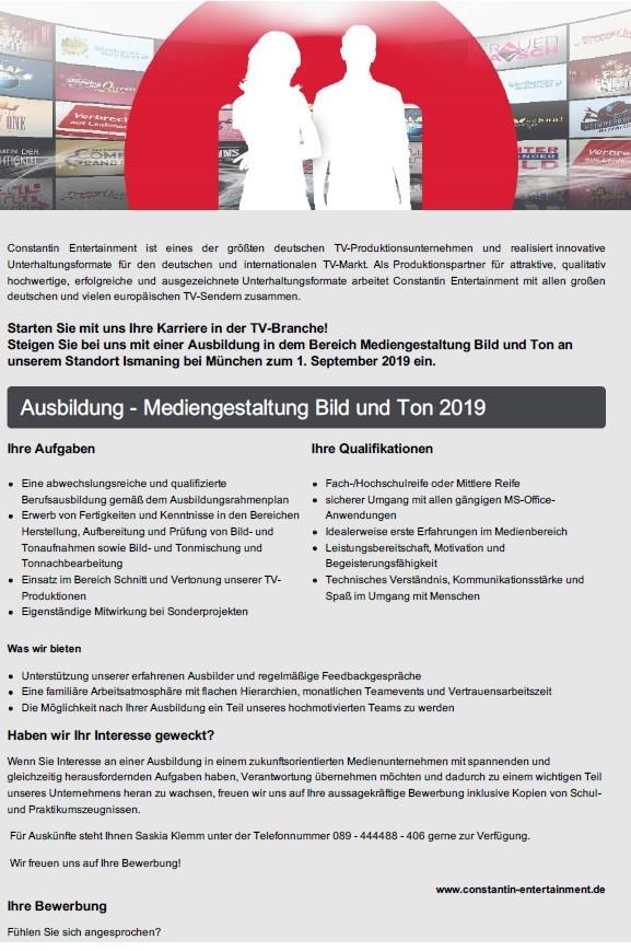 Ausbildung Mediengestaltung Bild Und Ton 2019 Constantin